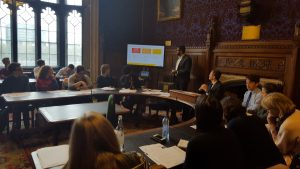 Jatin Patel of Impetus PEF giving a presentation to the APPG, including to the APPG Chair Michael Tomlinson MP